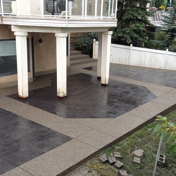 concrete patio walk out walk-out design charcoal color